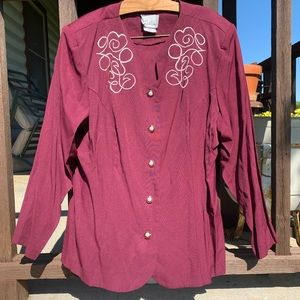 Vintage embroidered button down church blouse
